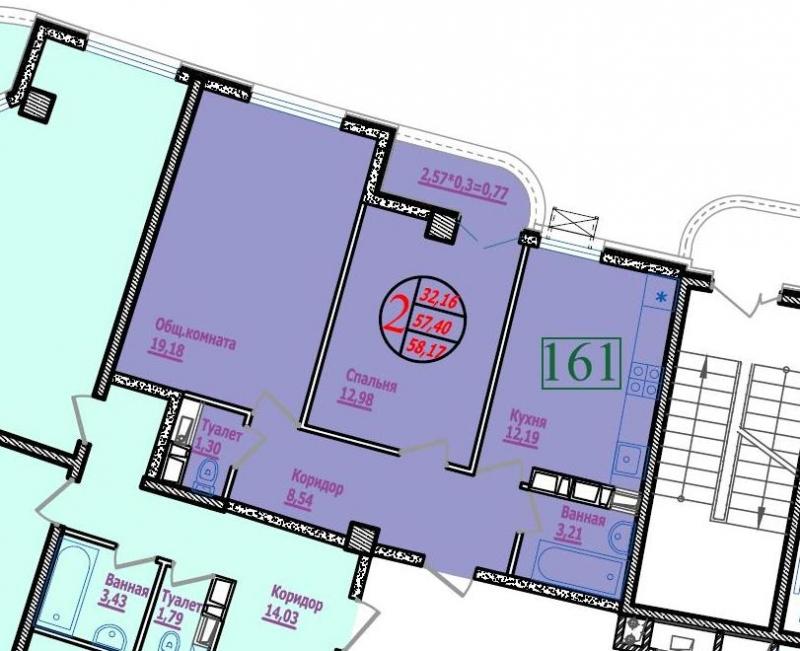 2-х комнатная квартира в ЖК Фонтаны
