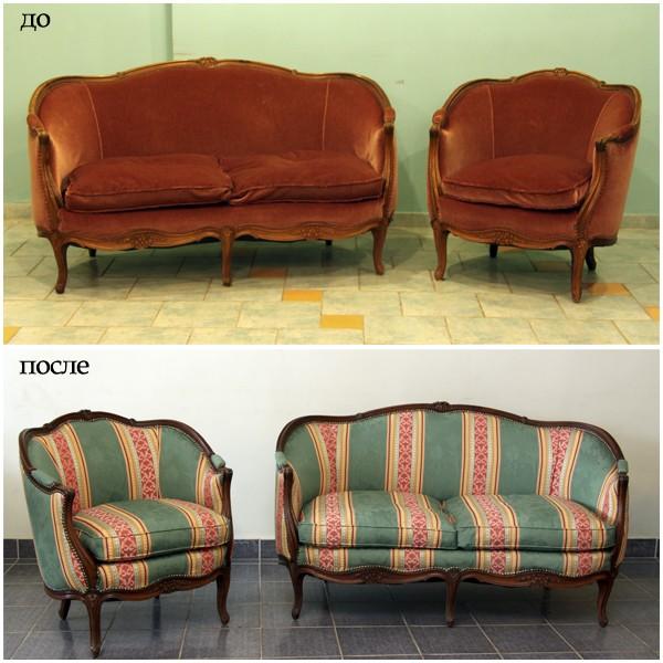 Перетяжка и ремонт мягкой мебели от