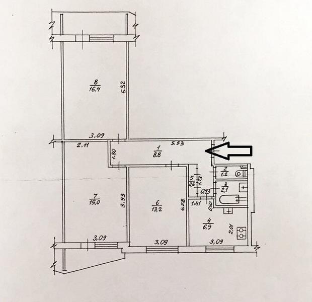 Продам 3 ком.квартиру ул.Ахсарова 17.