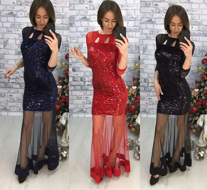 Вечернее блестящее платье Шик