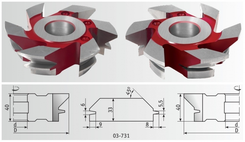 Фрезы для имитации бруса 160x40x20-33 мм
