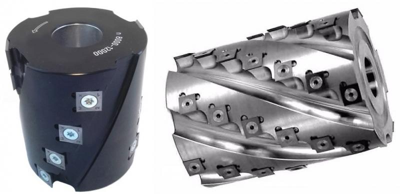 Фрезы спиральные, шейперы оснащены твердосплавными пластинами 14х14х2 мм