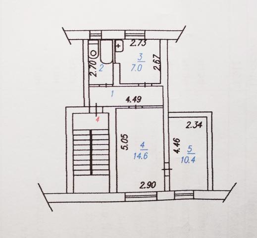 Продам 2-х комнатную квартиру, 42,4 кв.м., чистая продажа, торг. п. Листвянский
