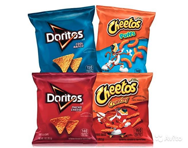 Чипсы Cheetos Crunchy и Doritos