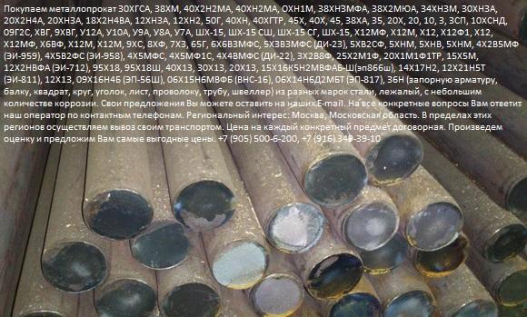 Организация закупит металл марок 25Х2М1Ф, 20Х1М1Ф1ТР, 15Х5М, 12Х2НВФА ЭИ-712,