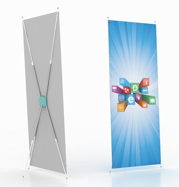 Х-баннер телескопический универсальный с изменяемой длиной ножек.