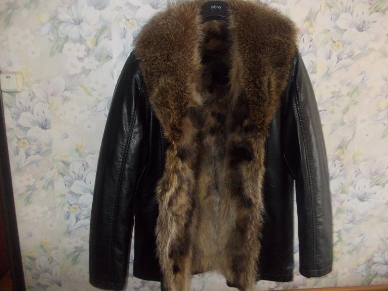 Куртка мужская кожаная с волчьим мехом Италия