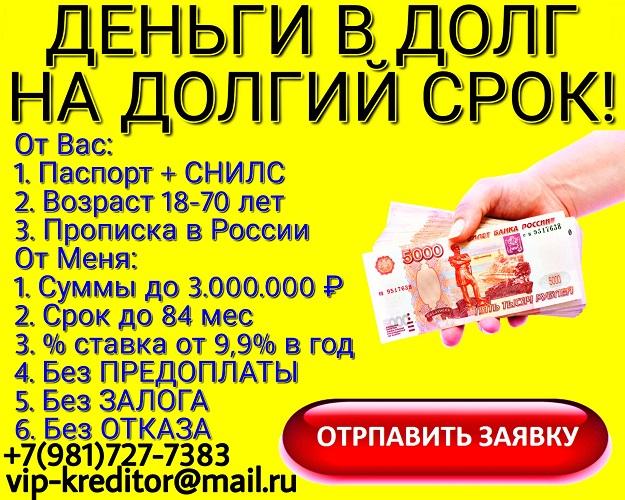 Деньги в долг на долгий срок. Помощь от частного кредитора.